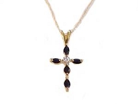 Sapphire and Diamond 14k Gold Cross