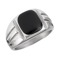 Plus Size Ring Men's Steel Black Onyx