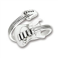 Guitar Plus Size Ring Sterling Silver