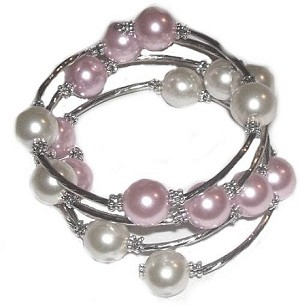 Large Size Bracelet White and Soft Pink Spiral