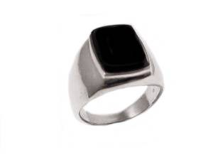 Men's Black Onyx Silver Large Size Ring