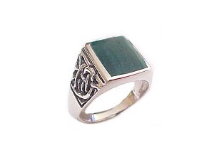 Men's Malachite Large Size Ring Sterling Silver