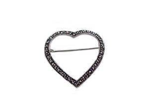 Open Heart Marcasite Sterling Silver Pin