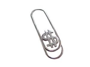 Silver Money Clip Dollar Sign