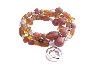 Lotus Charm Plus Size Bracelet Brown Spiral