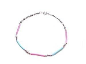 "Plus Size Bracelet Silver Pink and Blue 10""-11"""