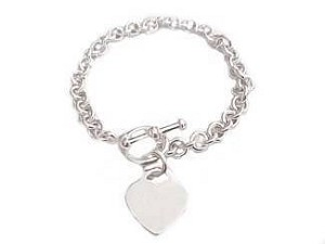 Plus Size Bracelet Silver Small Heart Tag
