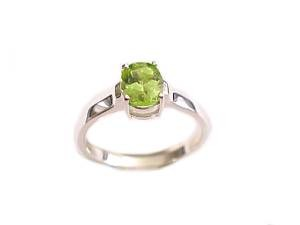 Large Size Ring Sterling Silver Oval Peridot