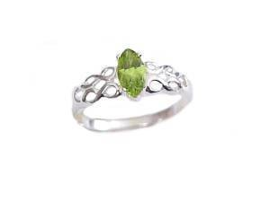 Plus Size Ring Silver Peridot Marquise