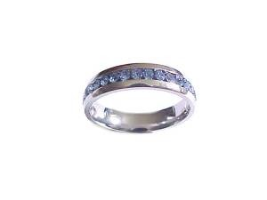 Plus Size Ring Blue Cz Stainless Steel