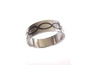 Plus Size Ring Stainless Steel Black Ovals Band