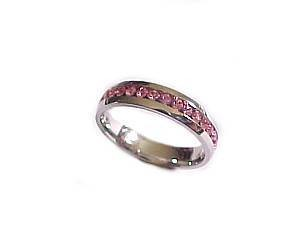 Plus Size Ring Pink Cz Steel Size 10-11