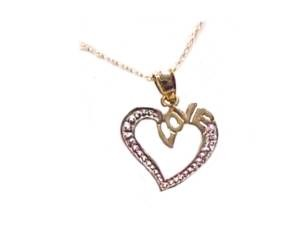 14k Gold Necklace Two Tone Heart Love