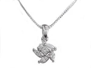 Plus Size Necklace Sterling Silver Cz Flower