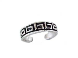 Sterling Silver Toe Ring Greek Key