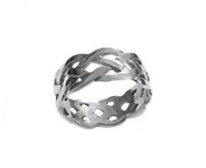 Celtic Braid Plus Size Ring Silver 8 to Size 13