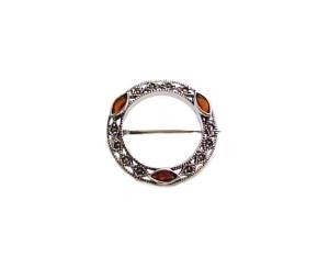 Circle Marcasite Sterling Silver Pin Garnet