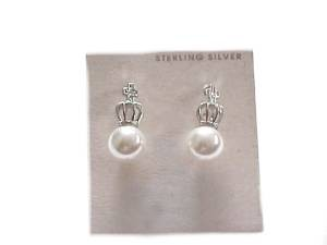 Dangling Pearl Sterling Silver Earrings