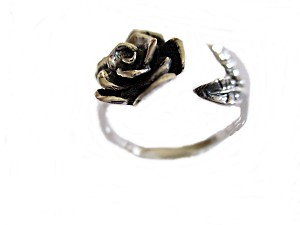 Rose Sterling Silver Large Size Ring