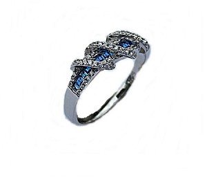 Sterling Silver Plus Size Ring Blue Cz Fancy