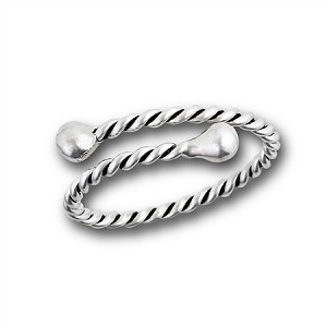 Rope and Bead Sterling Silver Plus Size Ring