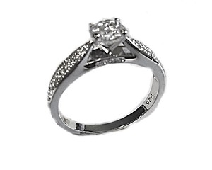Plus Size Engagement Ring Round with Pave
