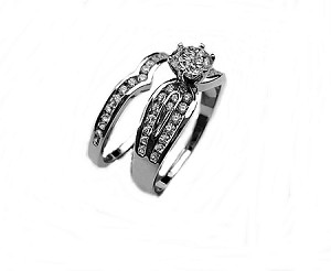 Wedding Ring Set.Plus Size Wedding Ring Set Round