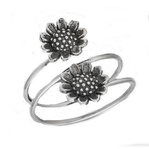 Double Sunflower Silver Large Size Ring