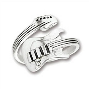 Plus Size Ring Sterling Silver Guitar