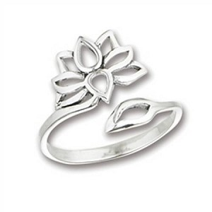 Lotus Sterling Silver Large Size Ring