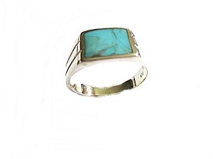 Men's Plus Size Ring Silver Turquoise