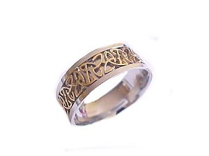 Celtic Large Size Ring Steel Two Tone Band